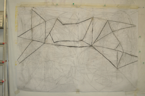 figure and ground 1 - sequenced drawing - charcoal on paper - 168 x 119 cm
