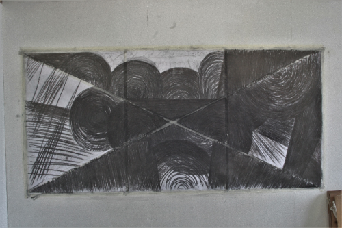 crossed-out, 2019, 119 X 252 cm, charcoal and lead drawing on 3 pieces of paper