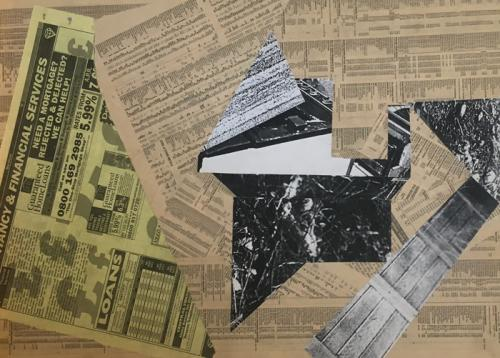 oven, collage with newsprint and photcopies on MDF, 1999 - 004