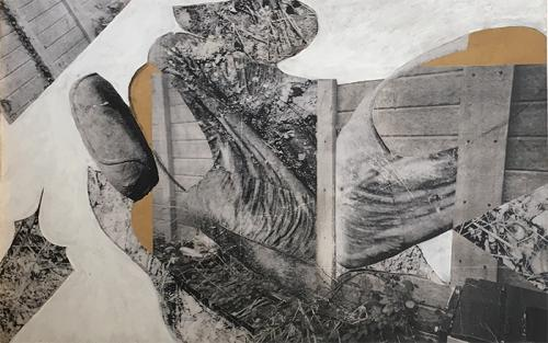 collage with photocopies, paint and charcoal on MDF, 2005