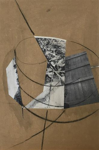 collage with photocopies and charcoal on MDF, 2005