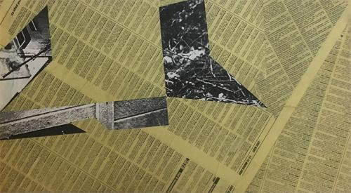 oven2, collage with newsprint and photocopies on MDF - 013