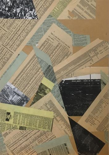 collage with newsprint and photocopies on MDF - 006