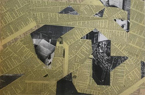 collage with newsprint and paint on hardboard 012