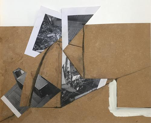 collage with photocopies, paint and charcoal on MDF