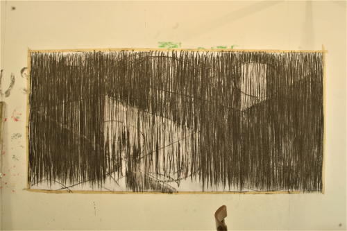 no figure, just ground 1 - sequenced drawing - charcoal on paper - 168 x 119 cm