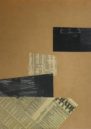 collage with newsprint and photcopies on MDF, 1999 - 008