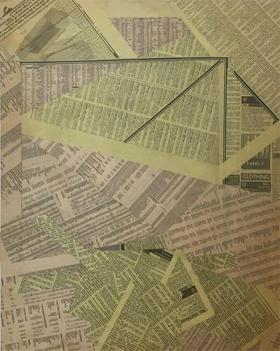 collage with newsprint on MDF, 1999 - 009