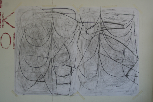 nearly two figures, 2012 - sequenced drawing - charcoal on 2 pieces of paper - 119 X 168cm
