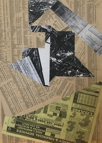 oven, collage with newsprint and photocopies on MDF - 004