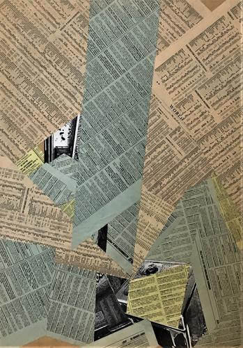 collage with newsprint on MDF - 001