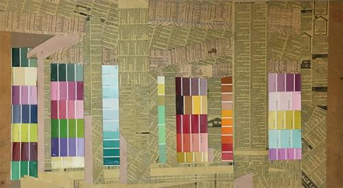 collage with newsprint and mixed media on plyboard,