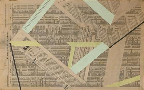 collage with newsprint and paper on plyboard (detail),