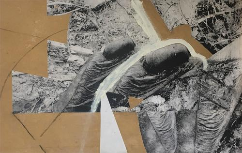 collage with photocopies, paint and charcoal on MDF 002