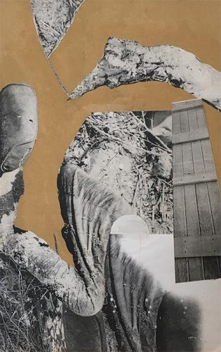 collage with photocopies on MDF