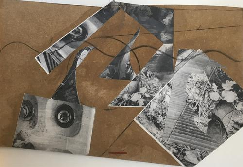 collage with photocopies and charcoal on MDF