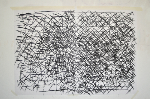 tree or book - sequenced drawing - charcoal on paper - 168 x 119 cm